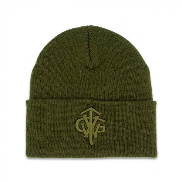 """Classic Long Beanie """"TVWG COLLEGE"""", oliv"""