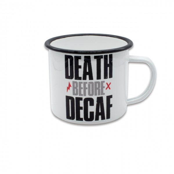 """Tasse Emaille """"DEATH BEFORE DECAF"""" 480ml"""